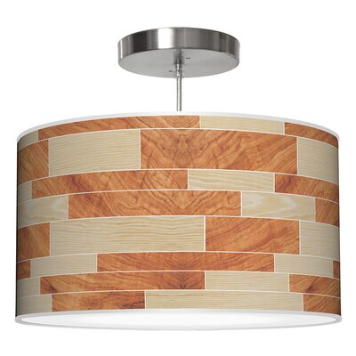 Tile 4 Drum Pendant Shade Color: Oak / Mahogany, Size: 9 H x 16 W x 16 D