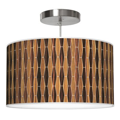 Weave 2 Drum Pendant Shade Color: Zebrawood / Ebony, Size: 9 H x 16 W x 16 D
