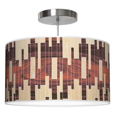 Drum 2 Pendant Shade Color: Oak / Rosewood, Size: 12 H x 30 W x 30 D