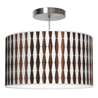 Weave 1 Drum Pendant Shade Color: Ebony, Size: 12 H x 36 W x 36 D
