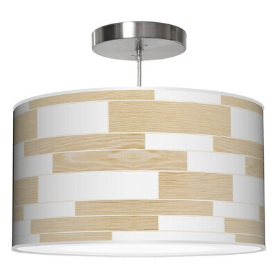 Tile 3 Drum Pendant Shade Color: White Oak, Size: 9 H x 20 W x 20 D