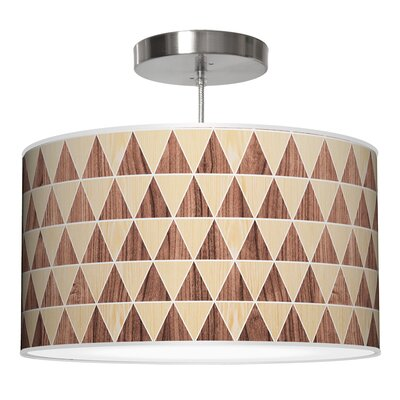 Triangle 2 Drum Pendant Shade Color: Oak / Walnut, Size: 9 H x 16 W x 16 D
