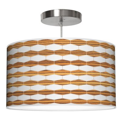 Weave 3 Drum Pendant Shade Color: Zebrawood, Size: 9 H x 20 W x 20 D