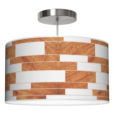 Tile 3 Drum Pendant Shade Color: Mahogany, Size: 9 H x 16 W x 16 D