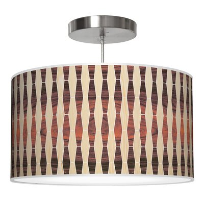 Weave 2 Drum Pendant Shade Color: Oak / Rosewood, Size: 9 H x 16 W x 16 D