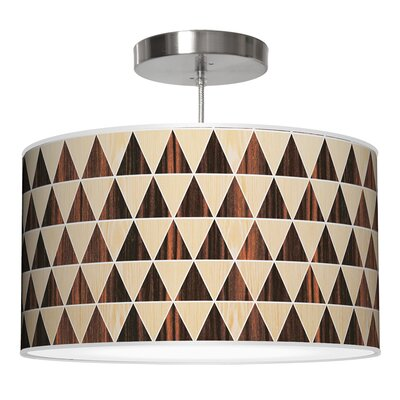 Triangle 2 Drum Pendant Shade Color: Oak / Ebony, Size: 11 H x 24 W x 24 D