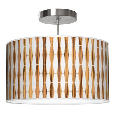 Weave 1 Drum Pendant Shade Color: Zebrawood, Size: 12 H x 30 W x 30 D