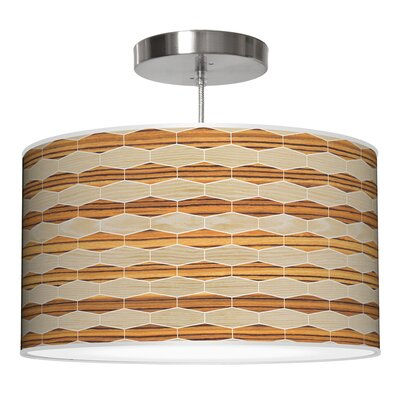 Weave 4 Drum Pendant Shade Color: Oak / Zebrawood, Size: 12
