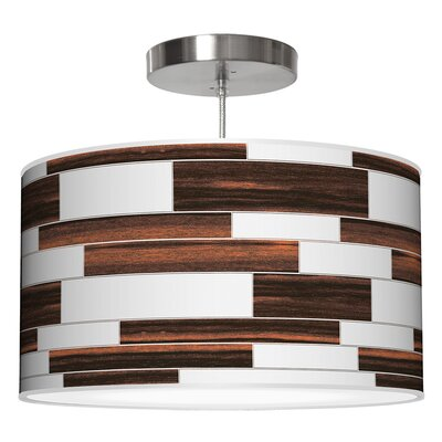 Tile 3 Drum Pendant Shade Color: Ebony, Size: 11 H x 24 W x 24 D