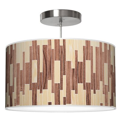 Drum 2 Pendant Shade Color: Oak / Walnut, Size: 12