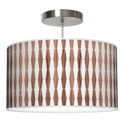 Weave 1 Drum Pendant Shade Color: Walnut, Size: 9 H x 16 W x 16 D