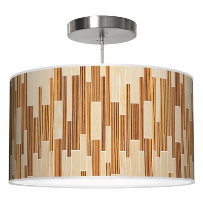 Drum 2 Pendant Shade Color: Oak / Zebrawood, Size: 11 H x 24 W x 24 D