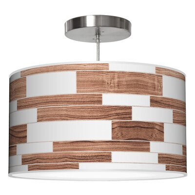 Tile 3 Drum Pendant Shade Color: Walnut, Size: 9 H x 16 W x 16 D