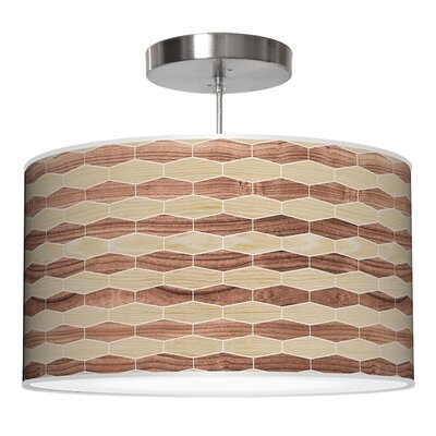 Weave 4 Drum Pendant Shade Color: Oak / Walnut, Size: 11 H x 24 W x 24 D