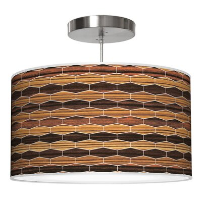 Weave 4 Drum Pendant Shade Color: Zebrawood / Ebony, Size: 9 H x 16 W x 16 D