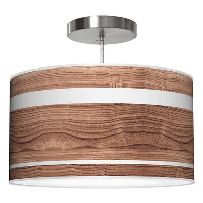 Band Drum Pendant Size: 9 H x 16 W x 16 D, Shade Color: Walnut