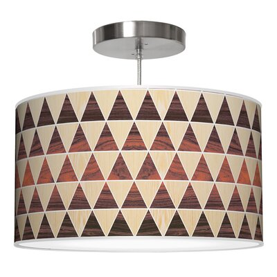 Triangle 2 Drum Pendant Shade Color: Oak / Rosewood, Size: 11 H x 24 W x 24 D
