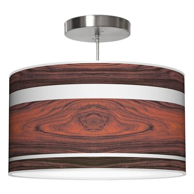 Band Drum Pendant Shade Color: Rosewood, Size: 9 H x 16 W x 16 D