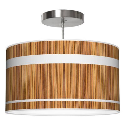 Band Drum Pendant Shade Color: Zebrawood, Size: 11 H x 24 W x 24 D
