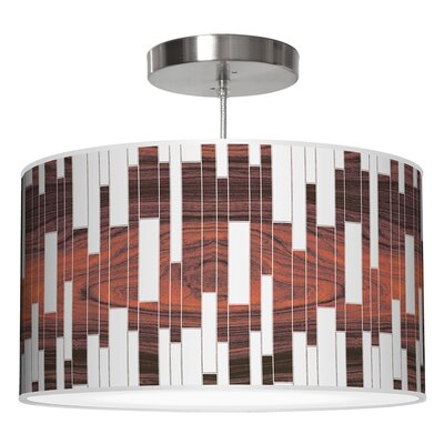 Tile 1 Drum Pendant Shade Color: Rosewood, Size: 11 H x 24 W x 24 D