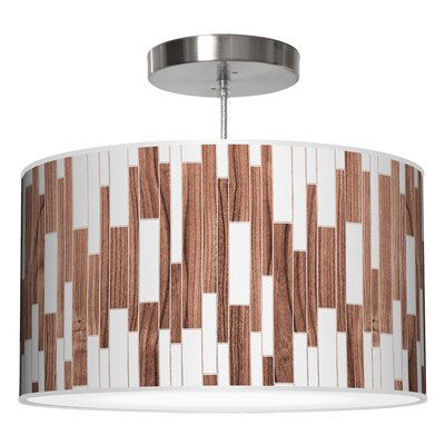 Tile 1 Drum Pendant Shade Color: Walnut, Size: 11 H x 24 W x 24 D