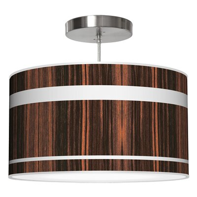 Band Drum Pendant Shade Color: Ebony, Size: 11 H x 24 W x 24 D