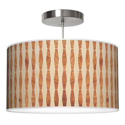 Weave 2 Drum Pendant Shade Color: Oak / Mahogany, Size: 11 H x 24 W x 24 D