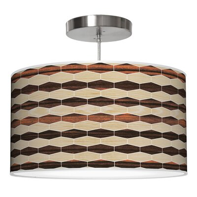 Weave 4 Drum Pendant Shade Color: Oak / Ebony, Size: 11 H x 24 W x 24 D