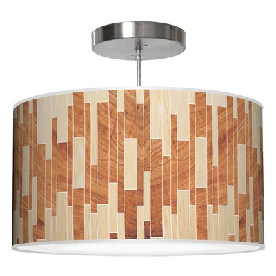Drum 2 Pendant Shade Color: Oak / Mahogany, Size: 11 H x 24 W x 24 D