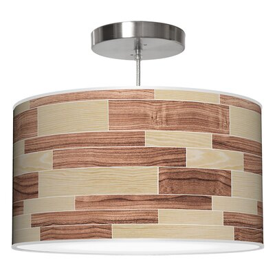 Tile 4 Drum Pendant Shade Color: Oak / Walnut, Size: 9 H x 16 W x 16 D