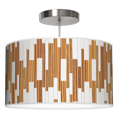 Tile 1 Drum Pendant Shade Color: Zebrawood, Size: 11 H x 24 W x 24 D