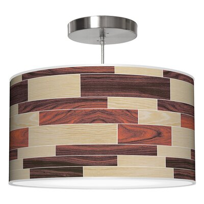 Tile 4 Drum Pendant Shade Color: Oak / Rosewood, Size: 9 H x 16 W x 16 D