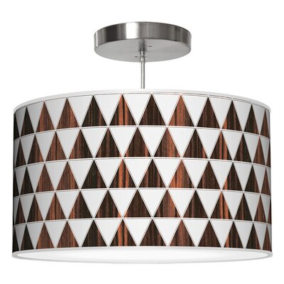 Triagnle Drum Pendant Shade Color: Ebony, Size: 11 H x 24 W x 24 D