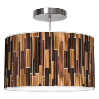 Drum 2 Pendant Shade Color: Zebrawood / Ebony, Size: 9 H x 16 W x 16 D