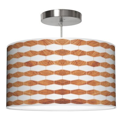 Weave 3 Drum Pendant Shade Color: Mahogany, Size: 9 H x 20 W x 20 D