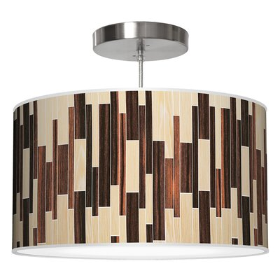 Drum 2 Pendant Shade Color: Oak / Ebony, Size: 11 H x 24 W x 24 D