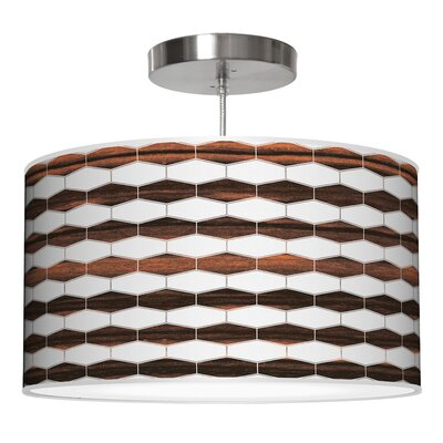 Weave 3 Drum Pendant Shade Color: Ebony, Size: 12 H x 30 W x 30 D
