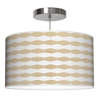 Weave 3 Drum Pendant Shade Color: White Oak, Size: 11 H x 24 W x 24 D