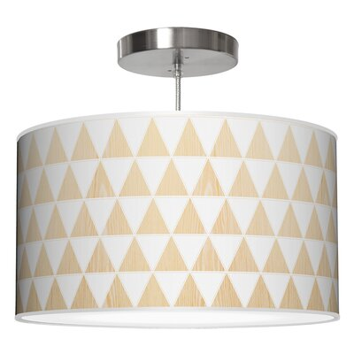 Triagnle Drum Pendant Shade Color: White Oak, Size: 11 H x 24 W x 24 D
