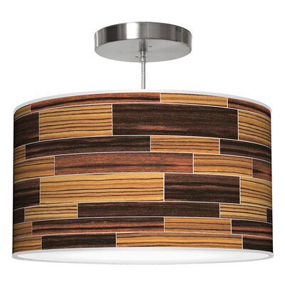 Tile 4 Drum Pendant Shade Color: Zebrawood / Ebony, Size: 11 H x 24 W x 24 D