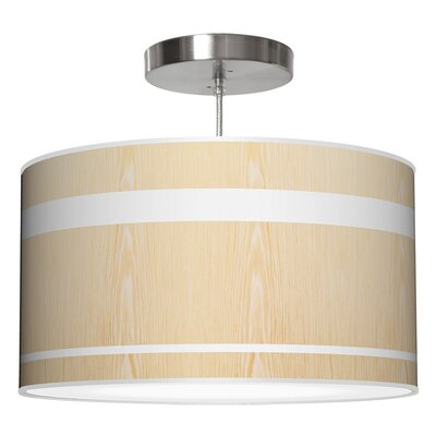 Band Drum Pendant Shade Color: White Oak, Size: 9 H x 16 W x 16 D