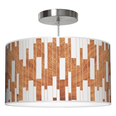 Tile 1 Drum Pendant Shade Color: Mahogany, Size: 11 H x 24 W x 24 D