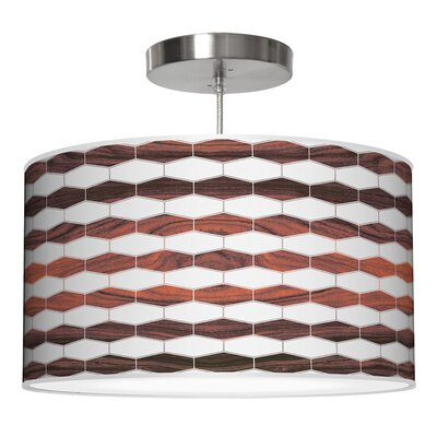 Weave 3 Drum Pendant Shade Color: Rosewood, Size: 11 H x 24 W x 24 D