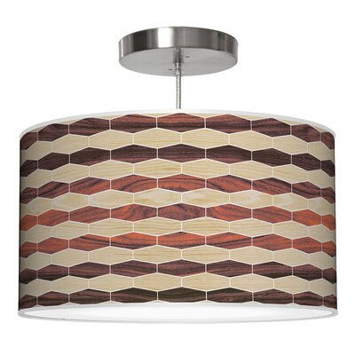 Weave 4 Drum Pendant Shade Color: Oak / Rosewood, Size: 9 H x 16 W x 16 D