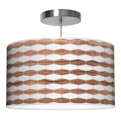 Weave 3 Drum Pendant Shade Color: Walnut, Size: 11 H x 24 W x 24 D