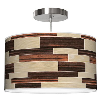 Tile 4 Drum Pendant Shade Color: Oak / Ebony, Size: 9 H x 16 W x 16 D