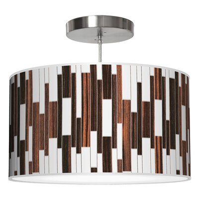Tile 1 Drum Pendant Shade Color: Ebony, Size: 9 H x 16 W x 16 D
