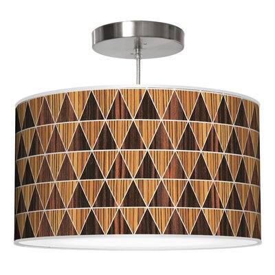 Triangle 2 Drum Pendant Shade Color: Zebrawood / Ebony, Size: 9 H x 16 W x 16 D