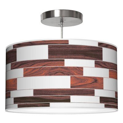 Tile 3 Drum Pendant Shade Color: Rosewood, Size: 12 H x 36 W x 36 D