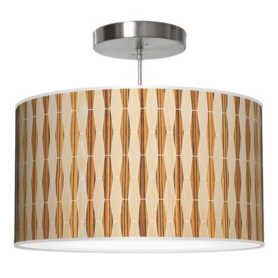 Weave 2 Drum Pendant Shade Color: Oak / Zebrawood, Size: 9 H x 16 W x 16 D